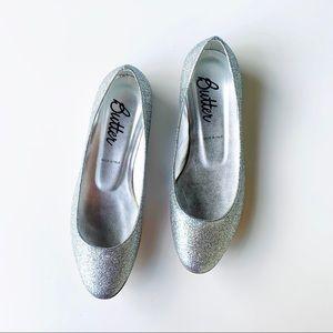Butter Italy silver glitter ballet flats